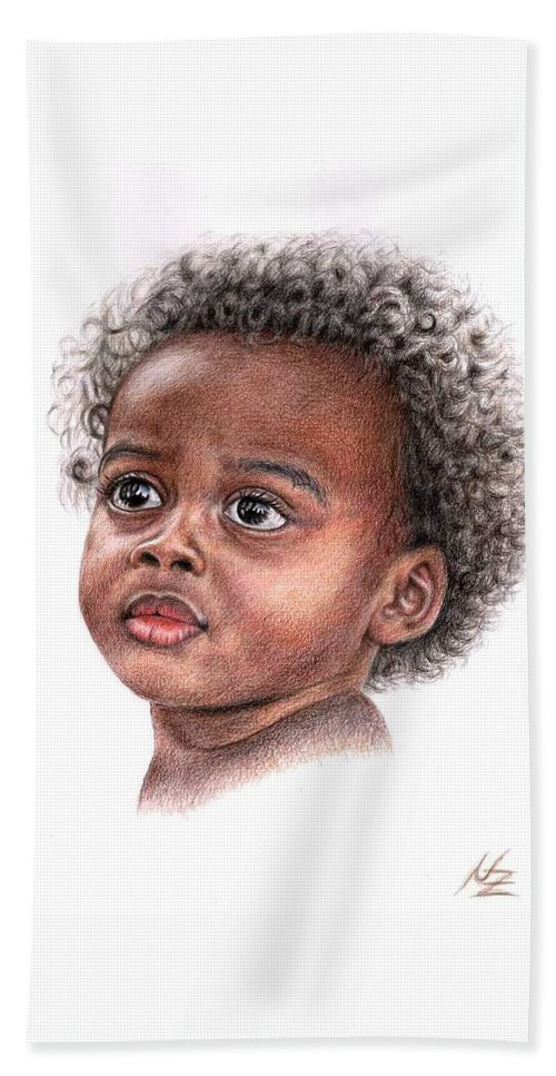 Child Hand Towel featuring the drawing African Child by Nicole Zeug