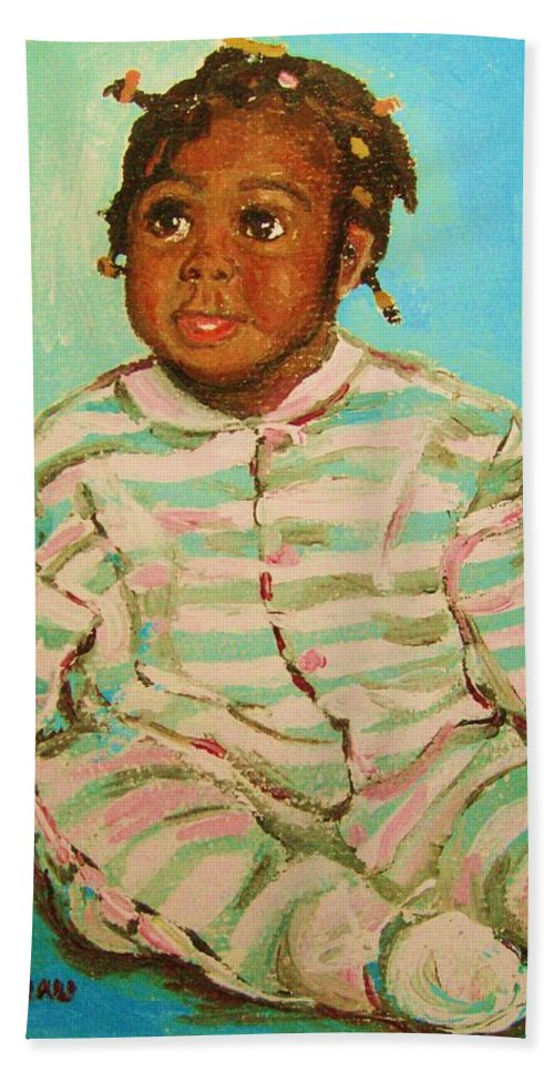 Africa Hand Towel featuring the painting African Cutie by Carole Spandau