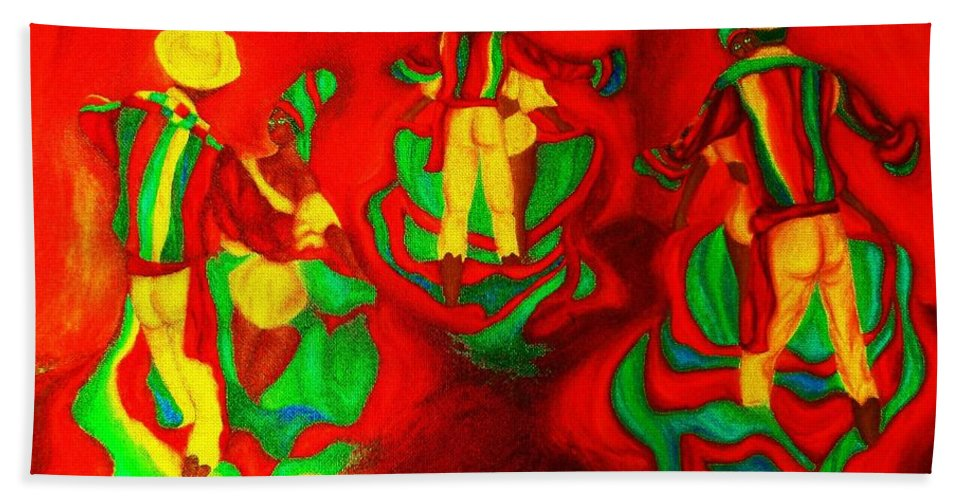 Africa Hand Towel featuring the painting African Dancers by Carole Spandau