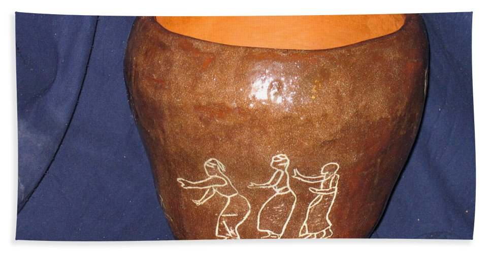 Jesus Hand Towel featuring the ceramic art African Ladies Lead The Dance - View One by Gloria Ssali