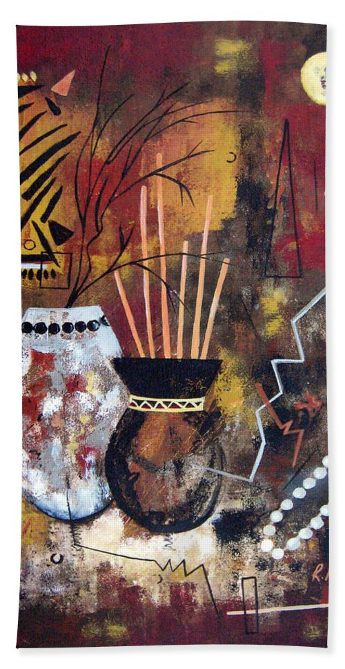 Abstract Hand Towel featuring the painting African Perspective by Ruth Palmer