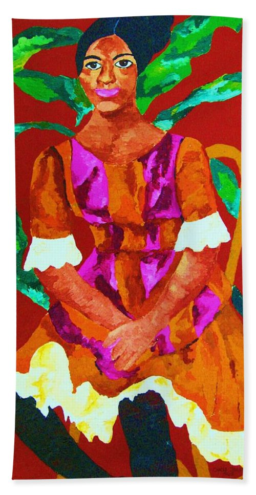 African Princess Hand Towel featuring the painting African Princess by Carole Spandau