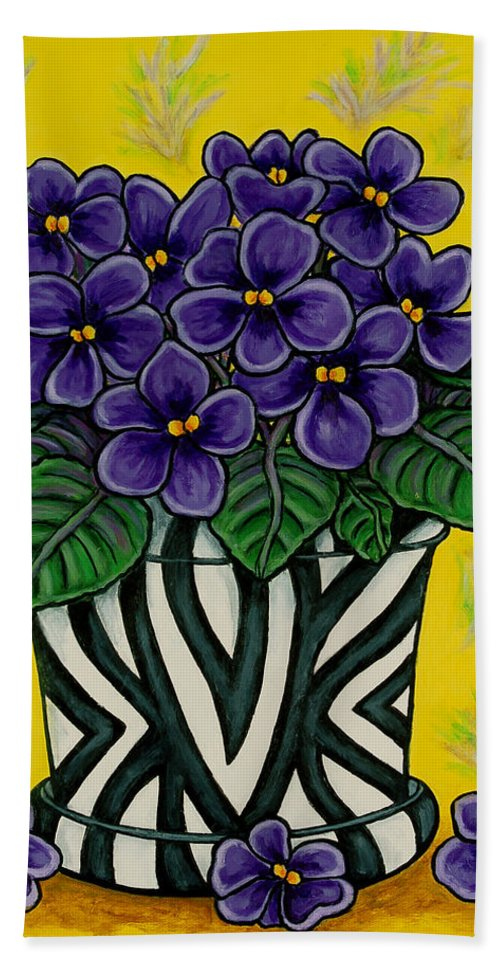 Violets Bath Sheet featuring the painting African Queen by Lisa Lorenz