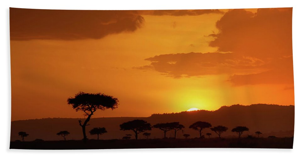 Africa Bath Towel featuring the photograph African Sunrise by Sebastian Musial