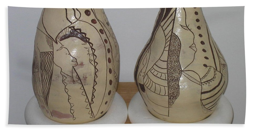 Jesus Hand Towel featuring the ceramic art African Terracotta Gourds - View Three by Gloria Ssali