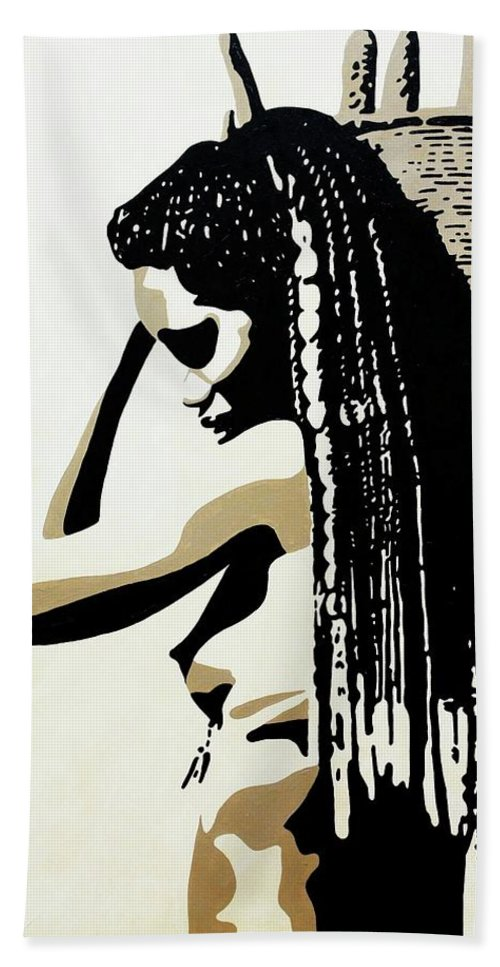 Africa Hand Towel featuring the painting African Woman With Basket by Irene Jonker