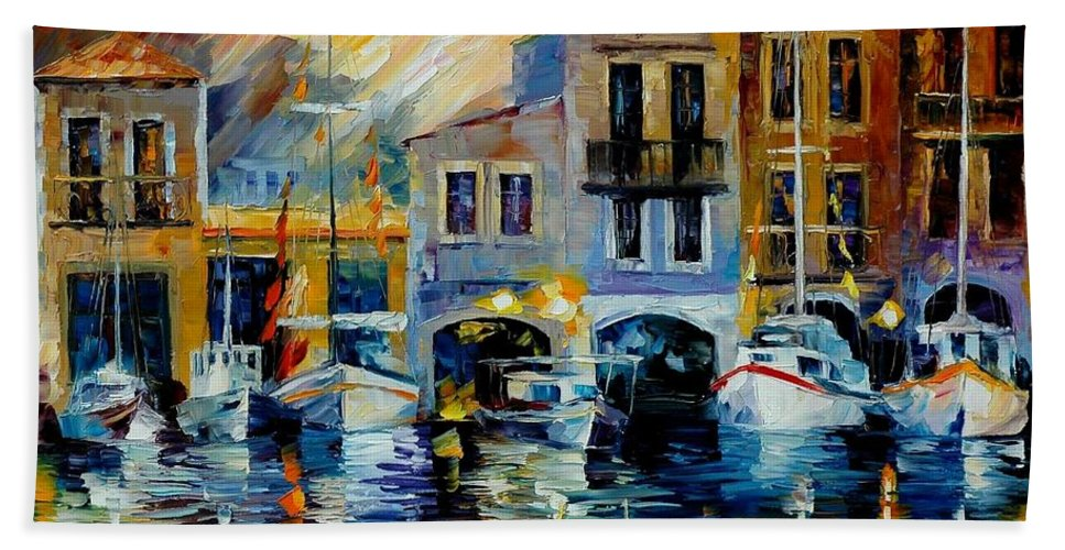Afremov Hand Towel featuring the painting After A Day's Work by Leonid Afremov