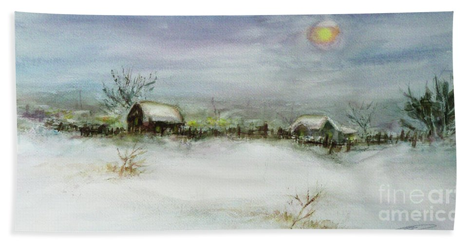 Landscape Hand Towel featuring the painting After A Heavy Fall Of Snow by Xueling Zou