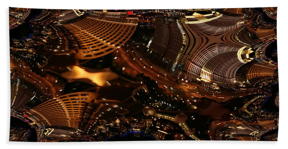 Las Vegas City The Strip Night Photograph Belagio Paris Caesars Palace Night Life Bath Sheet featuring the photograph After A Night In Vegas by Andrea Lawrence