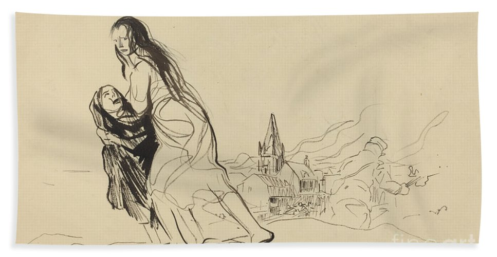 Hand Towel featuring the drawing After Douai by Jean-louis Forain