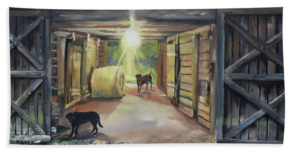 Barn Bath Sheet featuring the painting After Hours In Pa's Barn - Barn Lights - Labs by Jan Dappen