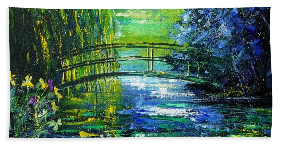 Pond Bath Towel featuring the painting After Monet by Pol Ledent