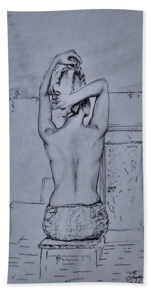 Portret Hand Towel featuring the drawing After The Bath by Grigorita Martina