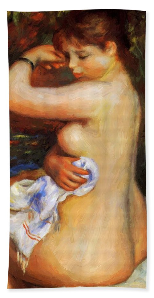 After Hand Towel featuring the painting After The Bath by Renoir PierreAuguste