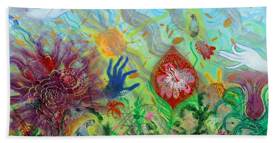 Biblical Bath Sheet featuring the painting After The Manna Manifestation Of The Quail by Anne Cameron Cutri