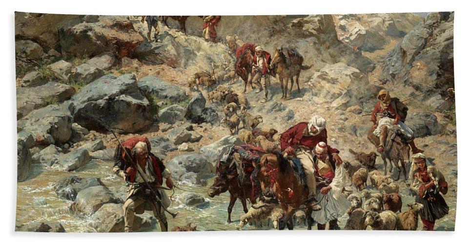 Rudolf Otto Von Ottenfeld Bath Sheet featuring the painting After The Raid by Rudolf Otto von Ottenfeld
