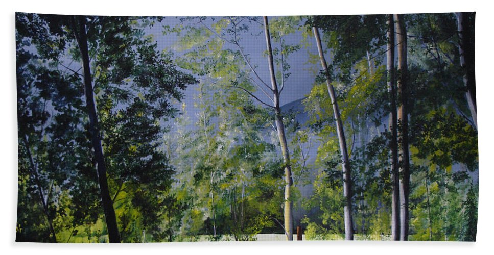Trees Hand Towel featuring the painting After The Rain by Glen Frear