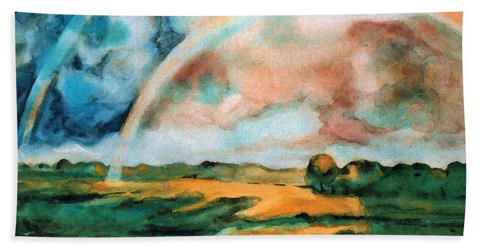 Landscape Bath Sheet featuring the painting After The Rain by Iliyan Bozhanov