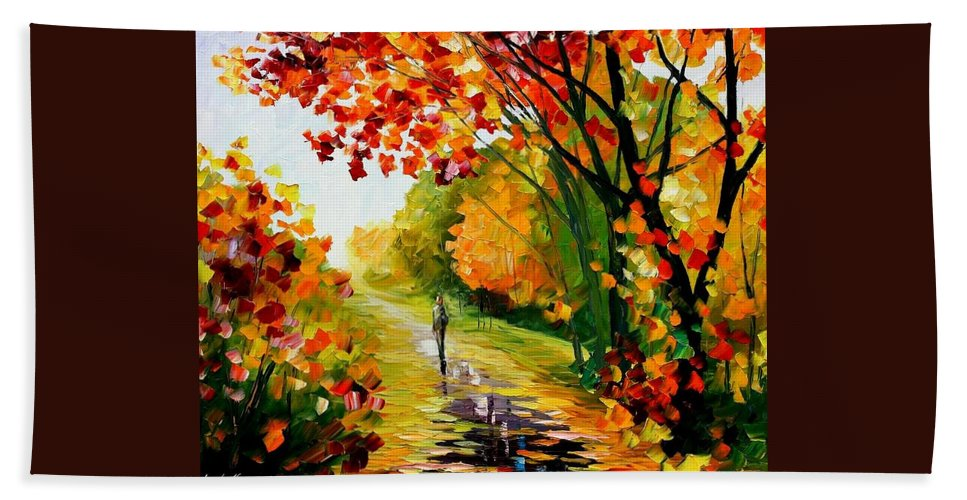Afremov Bath Sheet featuring the painting After The Rain by Leonid Afremov