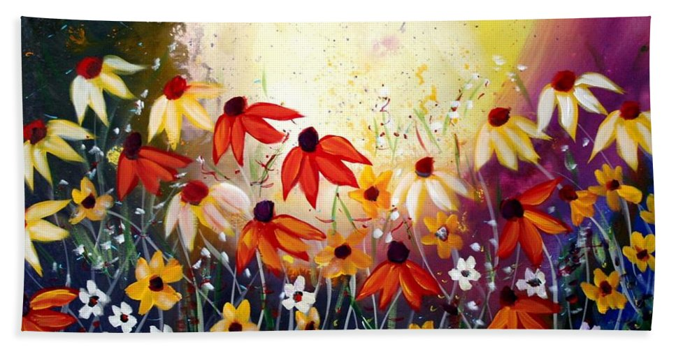 Flowers Bath Towel featuring the painting After The Rain by Luiza Vizoli
