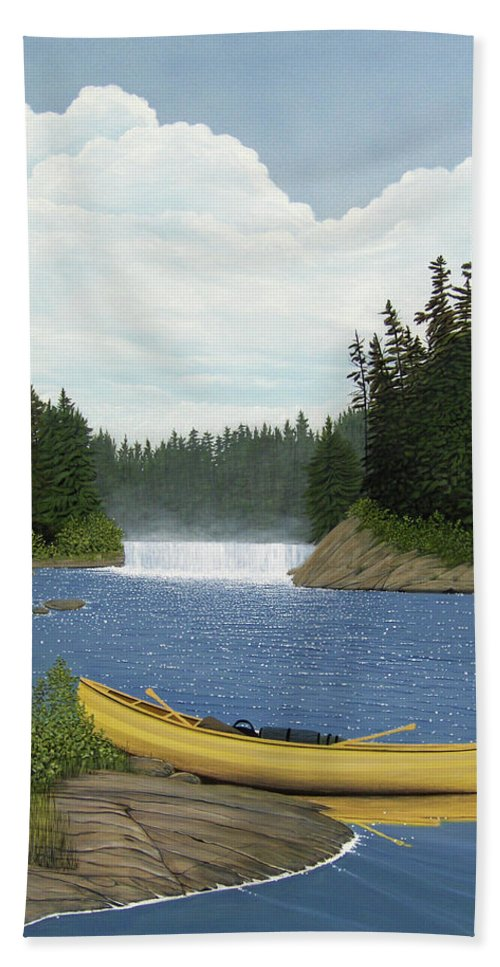 Landscapes Bath Towel featuring the painting After The Rapids by Kenneth M Kirsch