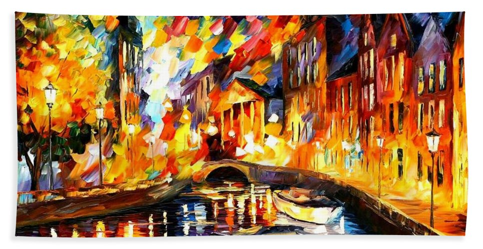 Afremov Bath Sheet featuring the painting After The River Turns by Leonid Afremov