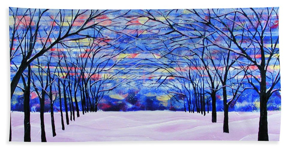 Landscape Bath Towel featuring the painting After The Snow by Rollin Kocsis