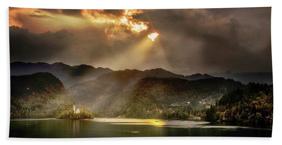 Lake Bath Sheet featuring the photograph After The Storm by Ceri Jones