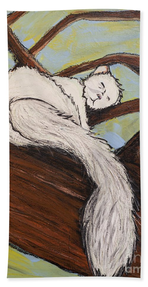 White Squirrel Hand Towel featuring the painting After The White Squirrel Festival by Rebecca Weeks Howard