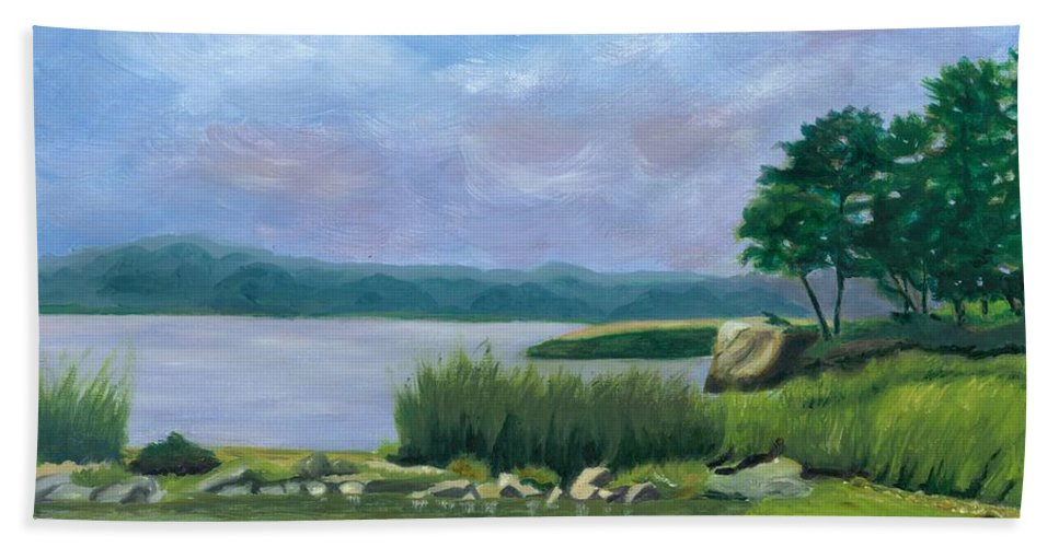 Seascape Hand Towel featuring the painting Afternoon At Pilgrim by Paula Emery