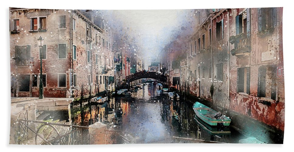 Venice Hand Towel featuring the digital art Afternoon In Venice IIi by Ronald Bolokofsky