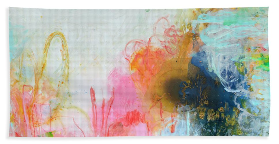 Abstract Hand Towel featuring the painting Afternoon Snooze by Claire Desjardins