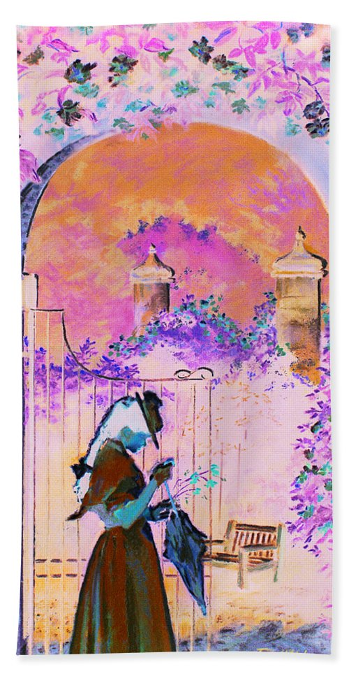 Rose Bath Towel featuring the painting Afternoon Stroll by Jean Hildebrant
