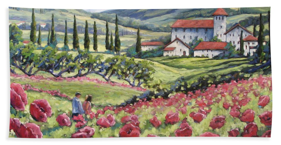 Tuscan Bath Towel featuring the painting Afternoon Stroll by Richard T Pranke