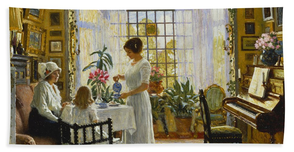 Afternoon Tea Hand Towel featuring the painting Afternoon Tea by Paul Fischer
