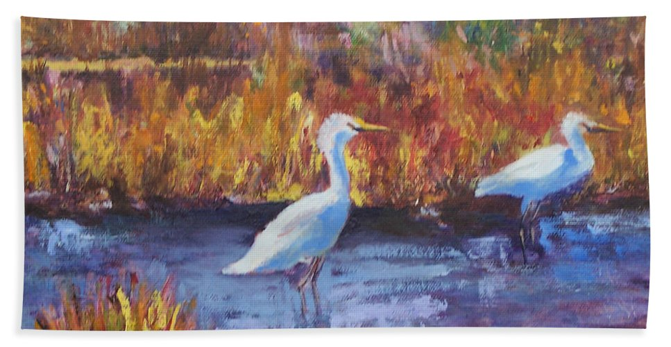 Maine Bath Towel featuring the painting Afternoon Waders by Alicia Drakiotes