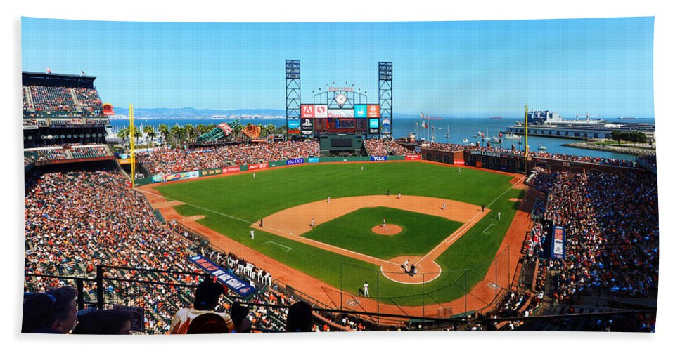 At&t Park Hand Towel featuring the photograph Afternoon Watching The Giants by C H Apperson