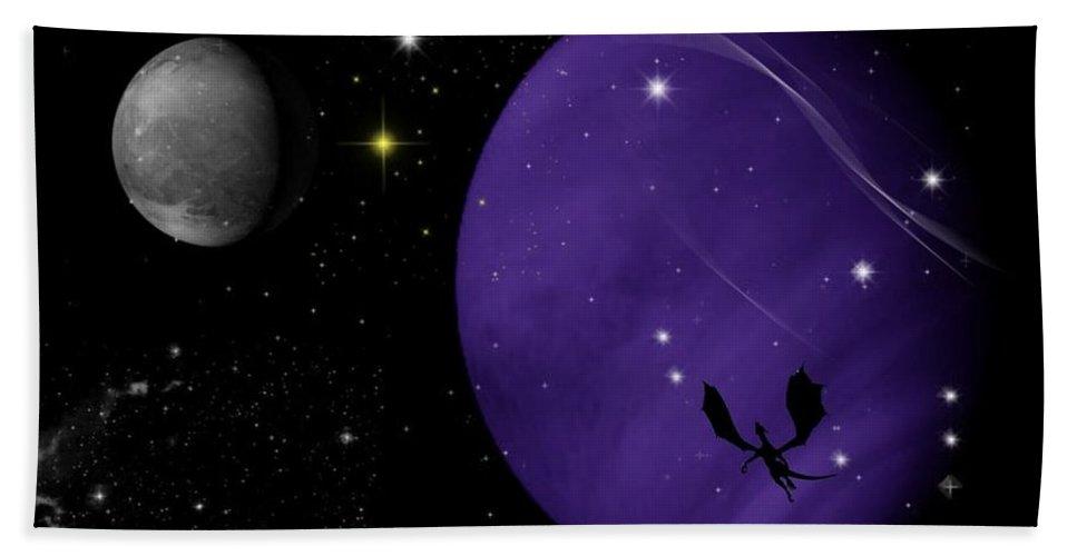 Dragon Bath Towel featuring the digital art Again They Rise by Rhonda Barrett