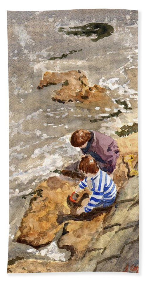 Water. Sea. Tide. Boys. Children. Coast. Beach. Coastal. Sand. Sea. Play. Hand Towel featuring the painting Against The Tide by John Cox
