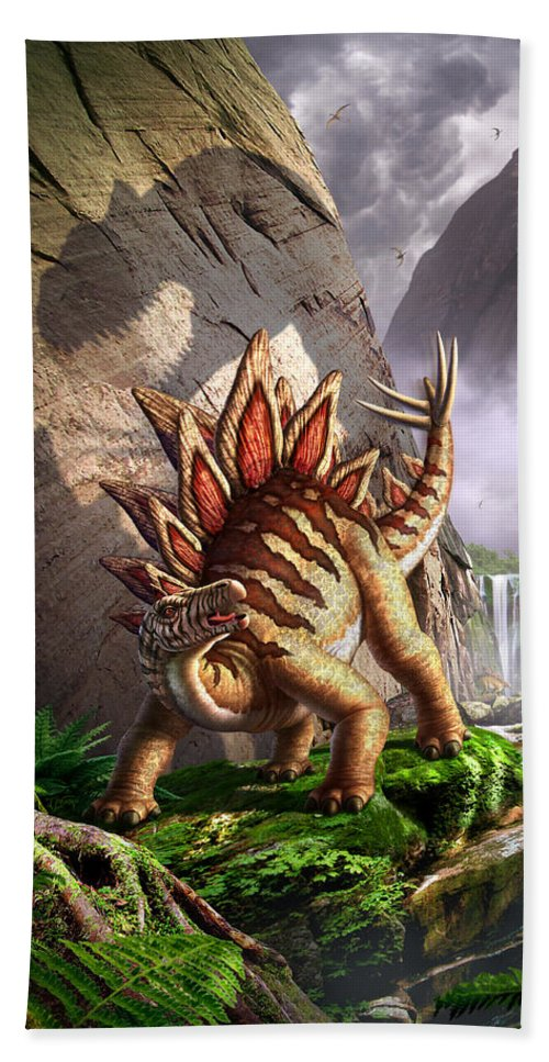 Stegosaurus Hand Towel featuring the digital art Against The Wall by Jerry LoFaro