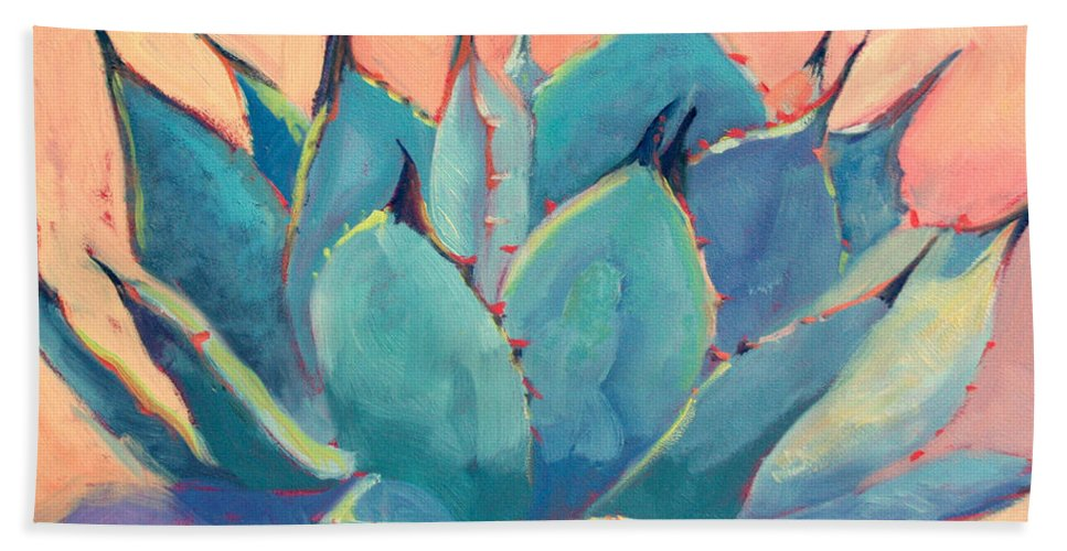 Plant Bath Towel featuring the painting Agave 2 by Athena Mantle