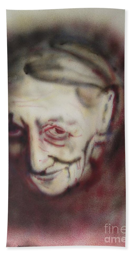 Portrait Hand Towel featuring the painting Aged Smile by Ron Bissett