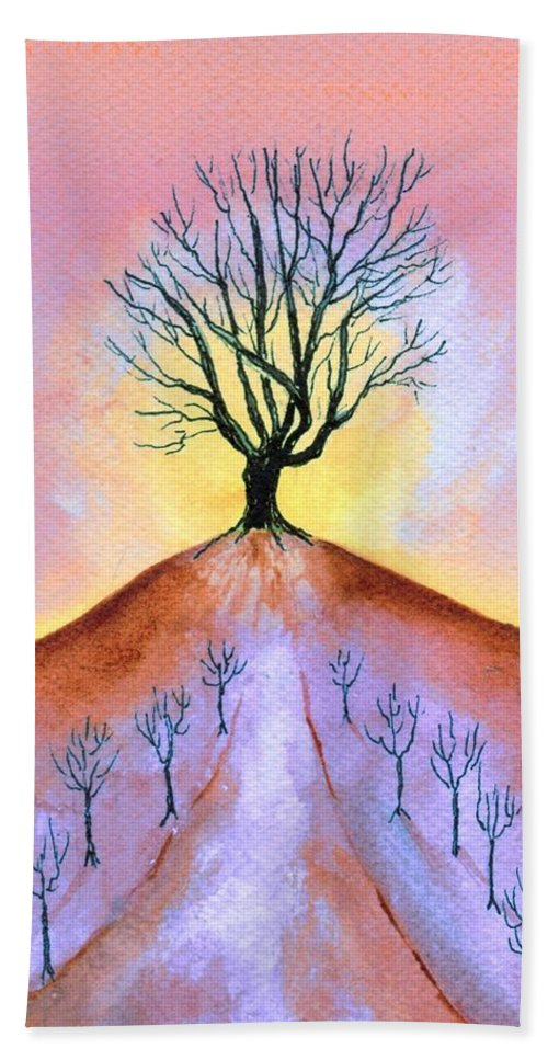 Watercolor Hand Towel featuring the painting Aglow by Brenda Owen
