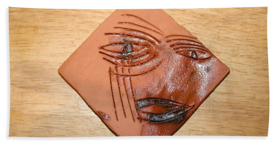 Jesus Hand Towel featuring the ceramic art Agony - Tile by Gloria Ssali