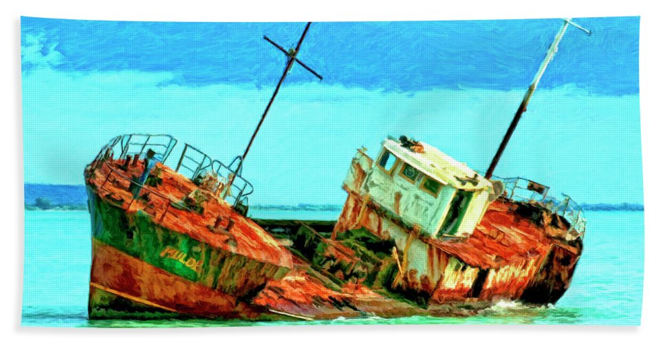 Aground Off Jamaica Bath Sheet featuring the painting Aground Off Jamaica by Dominic Piperata