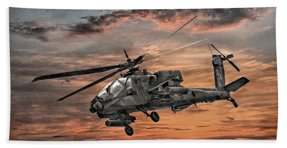 U.s. Army Bath Sheet featuring the digital art Ah-64 Apache Attack Helicopter by Randy Steele