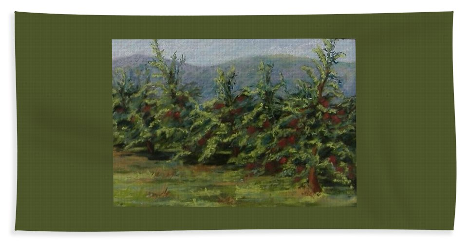 Apple Trees Hand Towel featuring the pastel Ah The Apple Trees by Pat Snook