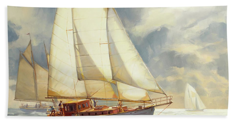 Sailboat Bath Towel featuring the painting Ahead of the Storm by Steve Henderson
