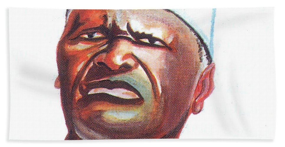Ahmed Sekou Toure Hand Towel featuring the painting Ahmed Sekou Toure by Emmanuel Baliyanga