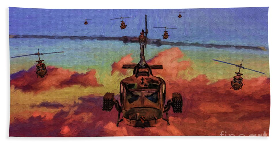Bell Uh-1 Huey Gunship Bath Sheet featuring the digital art Air Cavalry Bell Uh-1 Huey by Tommy Anderson